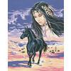 """Канва/ткань с рисунком """"Collection D Art"""" серия 11.000 60 см х 50 см 11453 Девушка и лошадь"""
