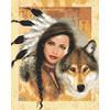 """Канва/ткань с рисунком """"Collection D Art"""" серия 11.000 60 см х 50 см 11855 Девушка и волк"""