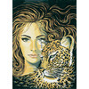 """Канва/ткань с рисунком """"Collection D Art"""" серия 11.000 60 см х 50 см 11370 Кошачий взгляд"""