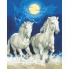 """Канва/ткань с рисунком """"Collection D Art"""" серия 11.000 60 см х 50 см 11857 Белые лошади"""