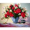 """Канва/ткань с рисунком """"Collection D Art"""" серия 11.000 60 см х 50 см 11583 Букет алых роз"""