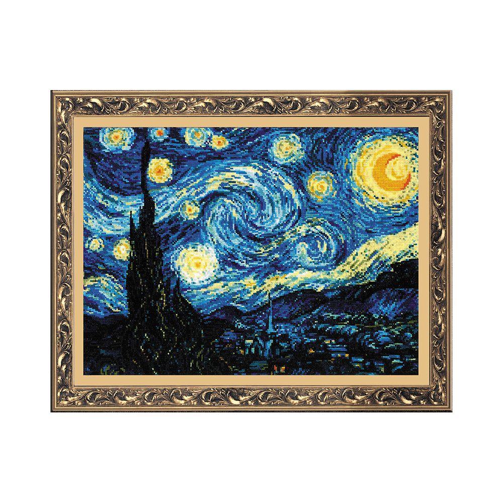 Скачать схему вышивки Riolis 1088 Ван Гог Звёздная ночь 53