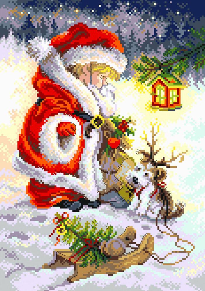 """Канва/ткань с рисунком """"Матренин посад"""" №07 28 см х 37 см 1925 """"Юный Санта"""" купить за 199,00 руб. в интернет-магазине Леонардо"""