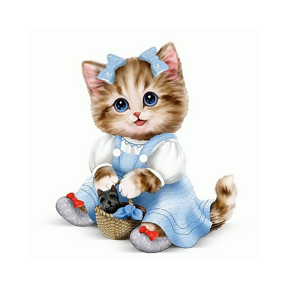 """""""Molly"""" Картина по номерам 20 х 20 см """"Кошечка с корзинкой ..."""