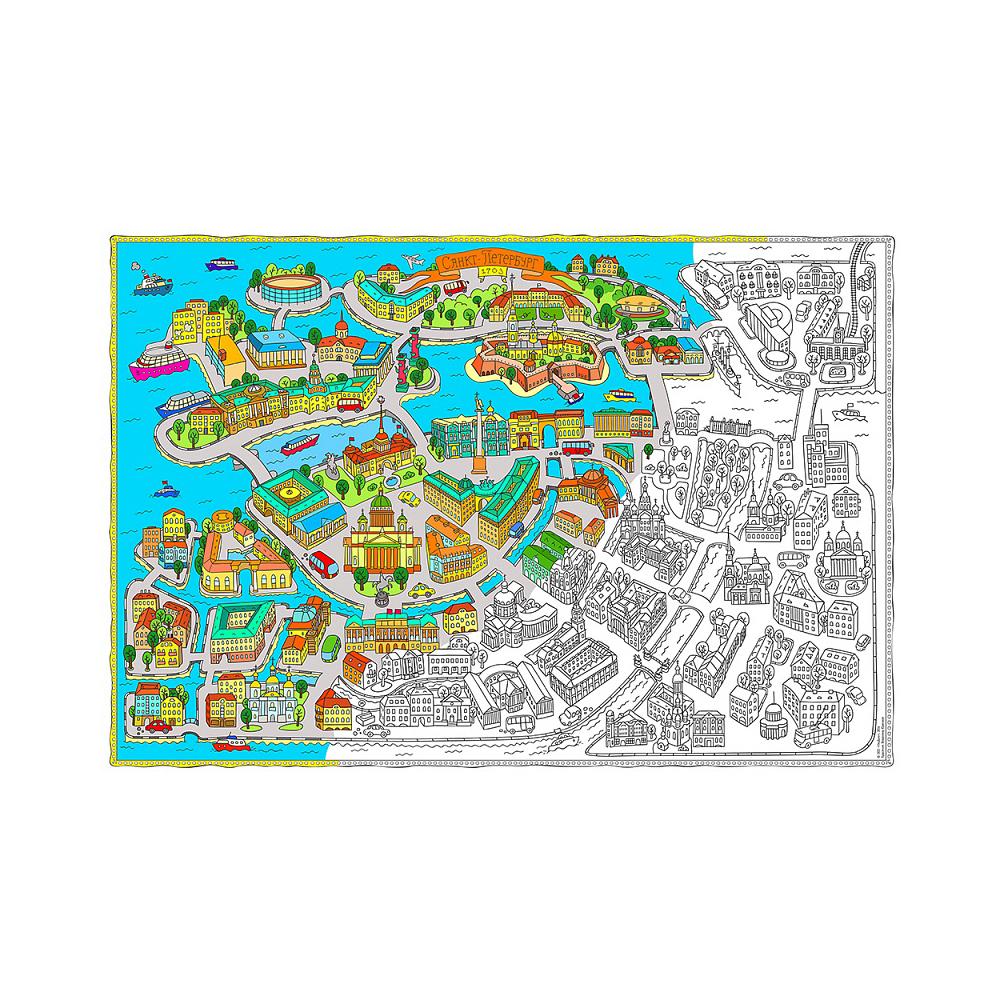 карта раскраска 01 101 X 69 см санкт петербург купить за 188