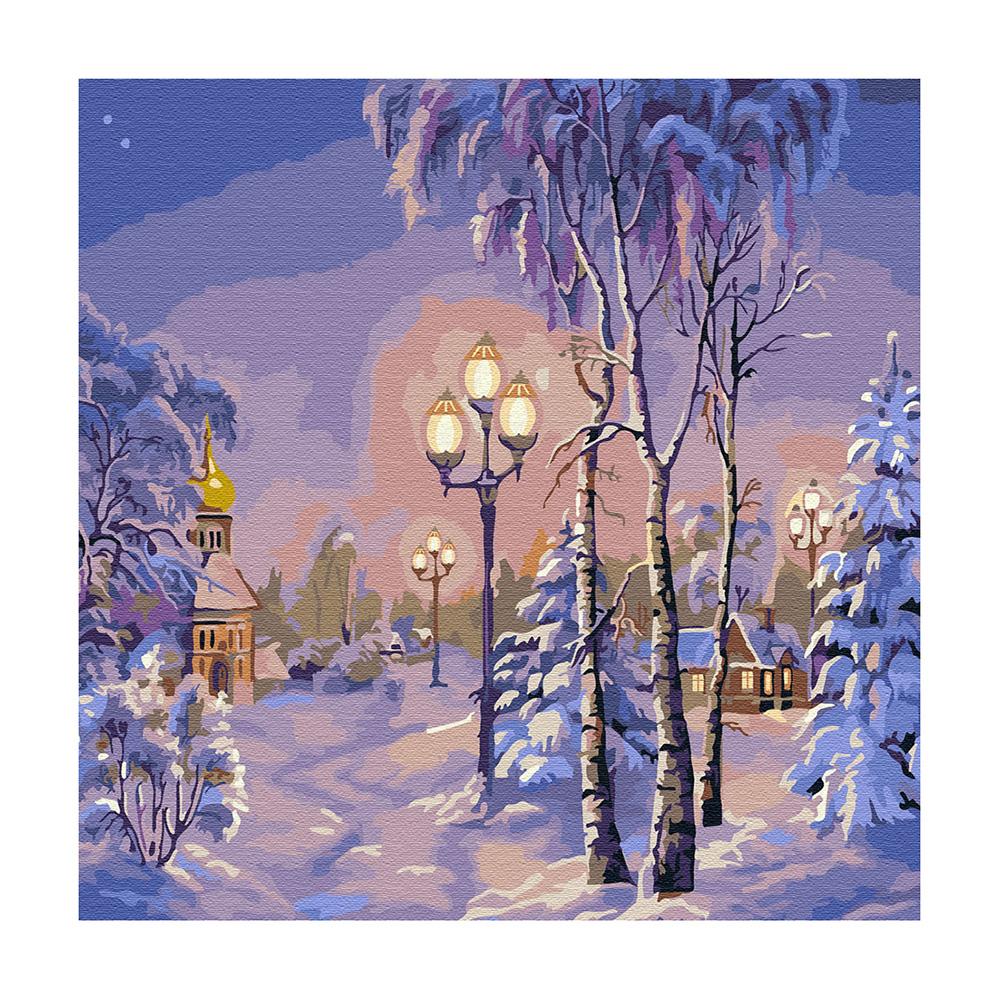 """Molly"" Картина по номерам 30 х 30 см ""Зимний вечер ..."