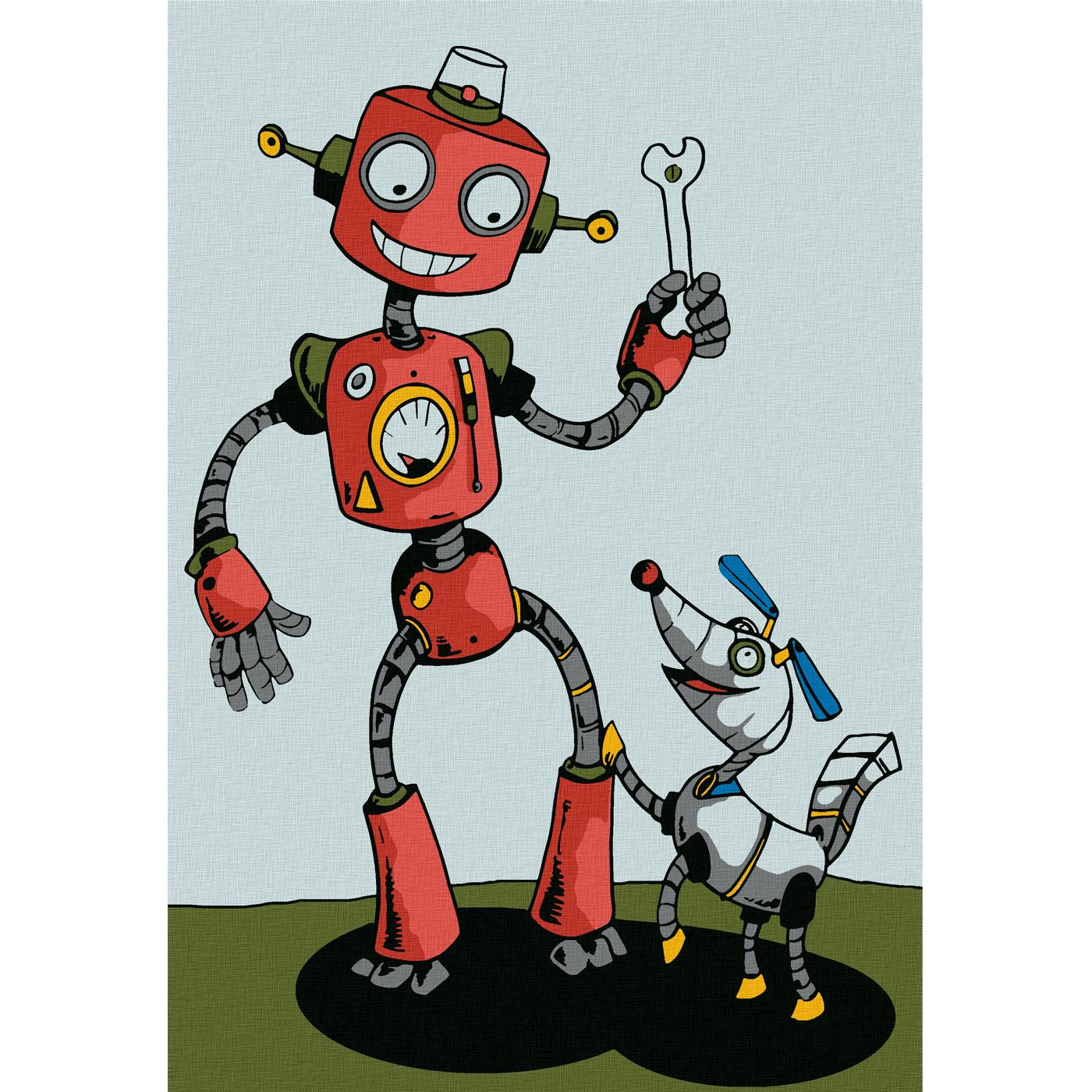 """Molly"" Картина по номерам 30 х 20 см ""Робот с собачкой ..."