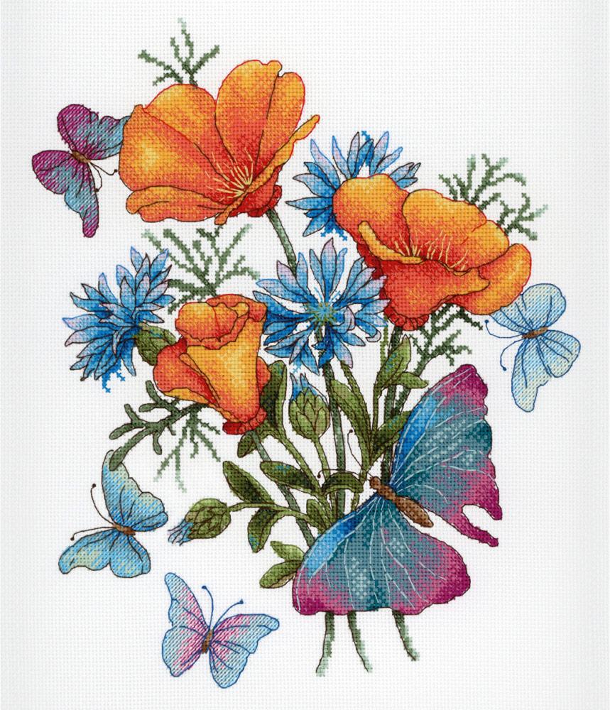 Цветы открытка вышивка