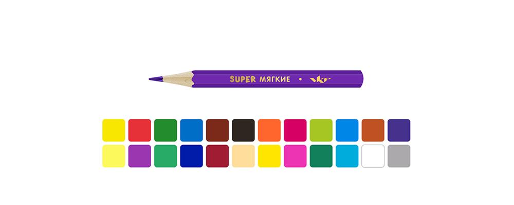 """""""ВКФ"""" """"Super"""" SCP-1024 Набор цветных карандашей, короткие ..."""