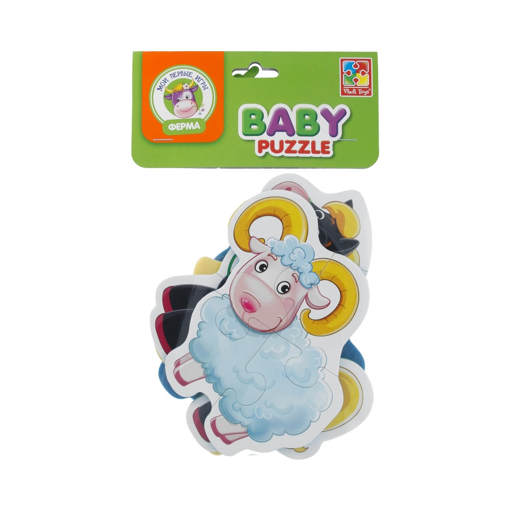Vladi Toys Мягкие пазлы Baby puzzle 5 элемент. Ферма VT1106-51 Фото 1.